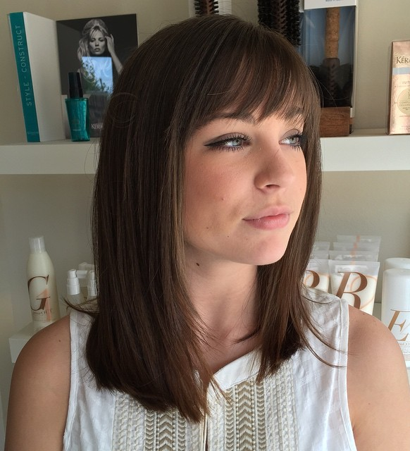 70 darn cool medium length hairstyles for thin hair long bob with short bangs urmus Gallery