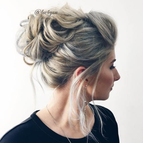 40 picture perfect hairstyles for long thin hair looped messy updo pmusecretfo Image collections