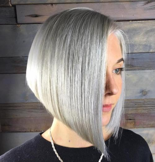 Angled Gray Bob For Straight Hair
