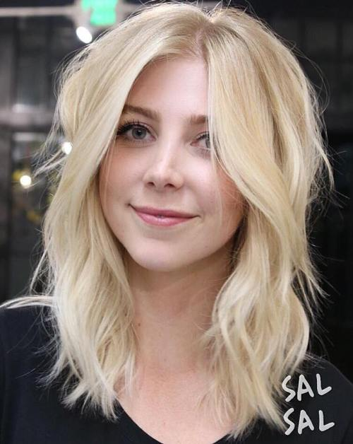 Blonde Medium Layered Hairstyle
