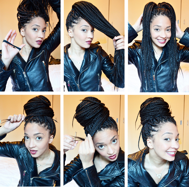 Simple Bun For Box Braids