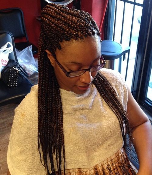 half up hairstyle for chestnut brown box braids
