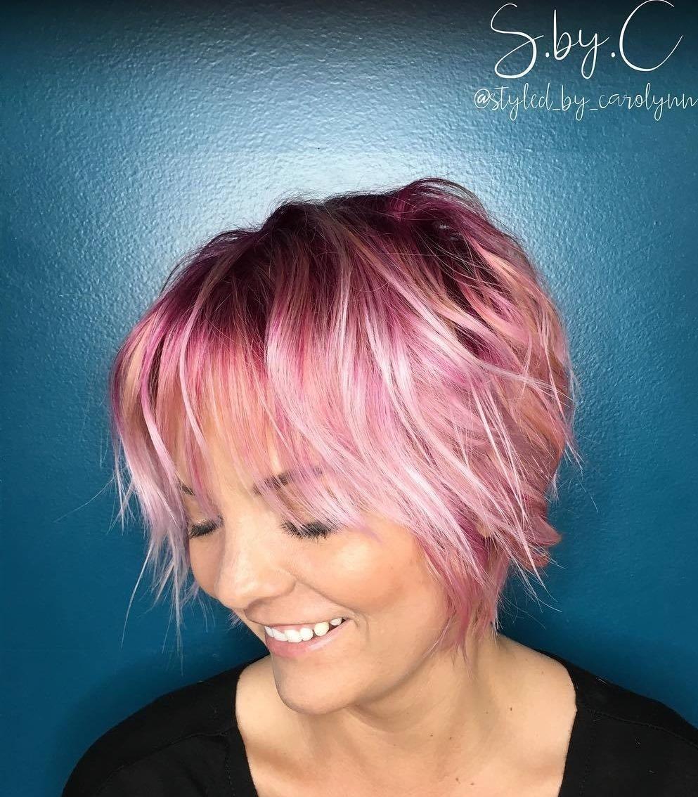 Short Choppy Pastel Pink Hairstyle