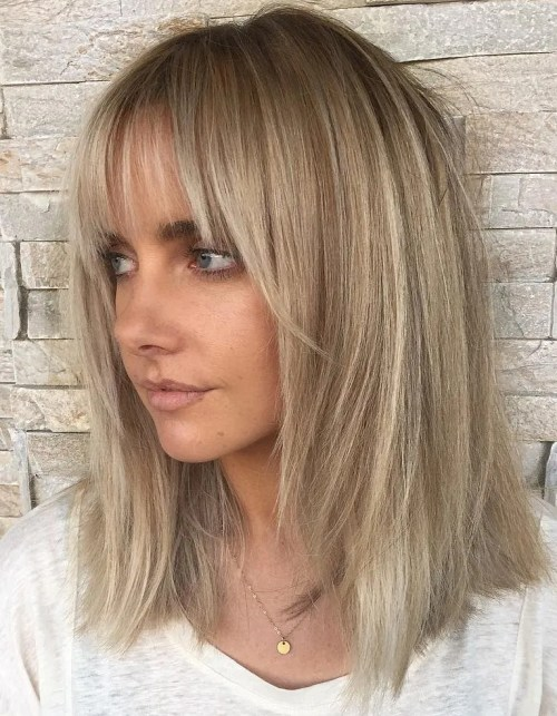 Medium Straight Layered Cut With Bangs