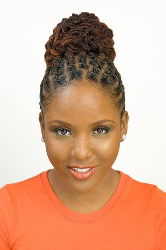 Individual Braids Updo Hairstyles For Black Women and a bun for black women
