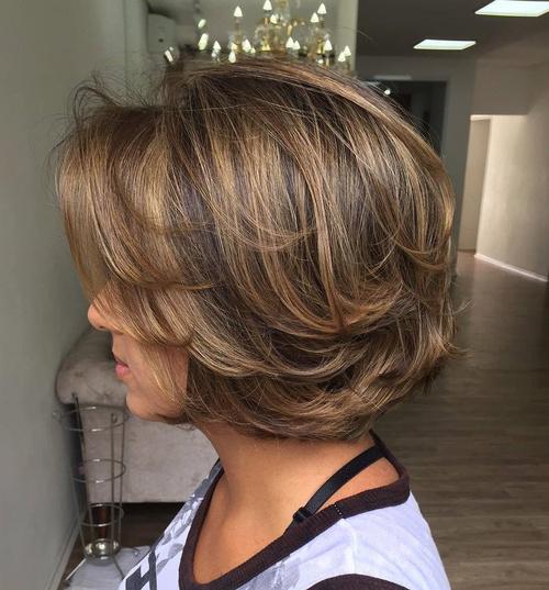 Medium Layered Brown Balayage Hairstyle
