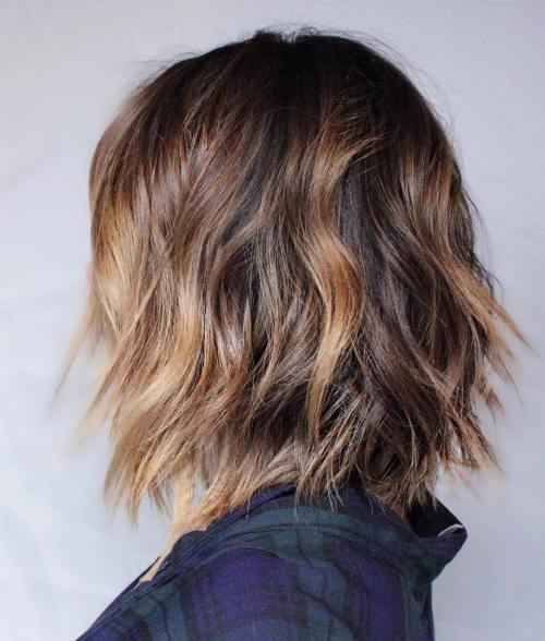 Wavy Brown Balayage Bob