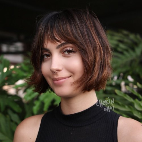 Brunette Bob With Subtle Caramel Balayage