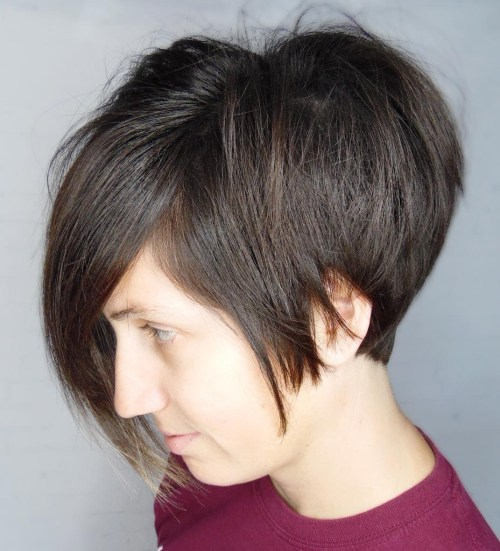 Brunette Pixie Bob With Side Bangs