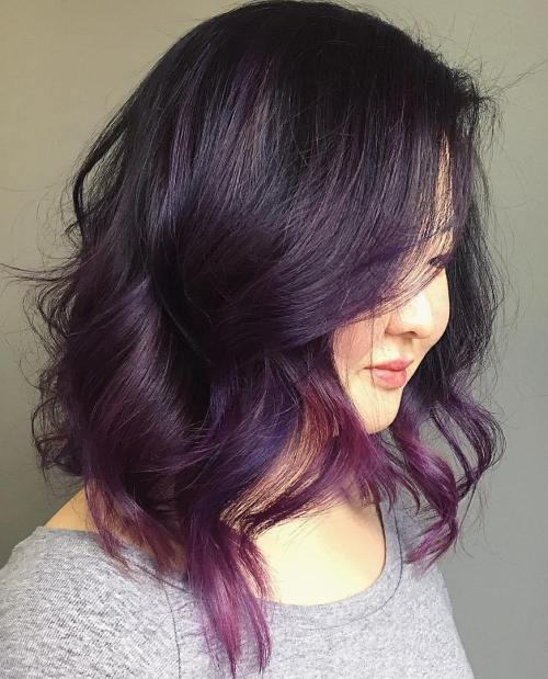 Black Wavy Bob With Purple Balayage