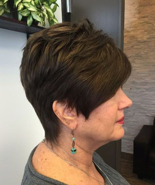 Brown Pixie With Subtle Highlights