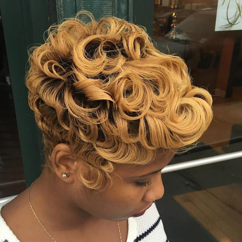 Curly Honey Blonde Pixie