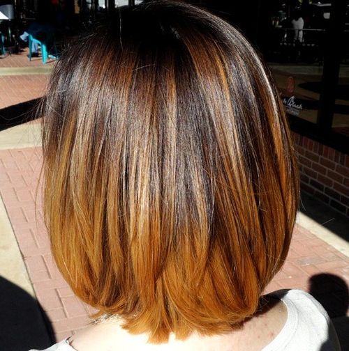 dark brown to chestnut ombre for medium hair