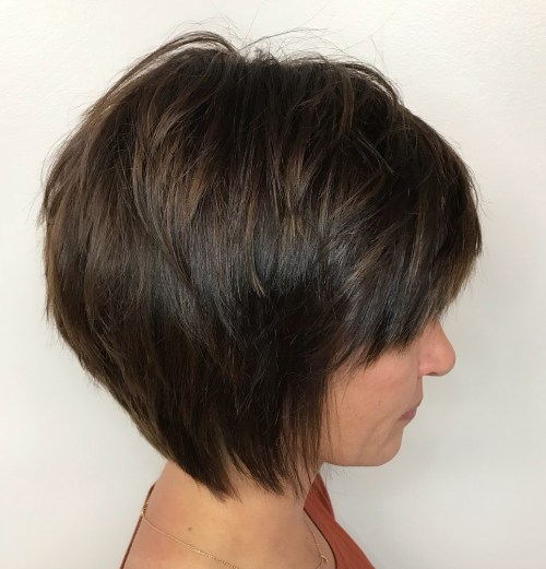 Piecey Layered Brown Bob With Bangs