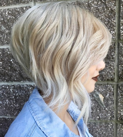 Layered And Angled Blonde Bob