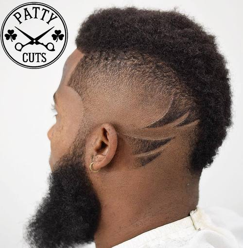 mohawk with long beard for black men