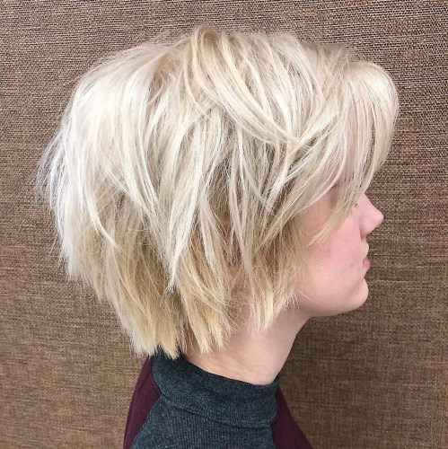 Wispy Layered Platinum Blonde Bob