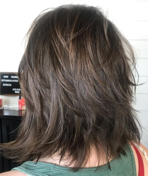 Chocolate Brown Shaggy Haircut
