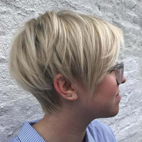 Layered Ash Blonde Pixie Bob
