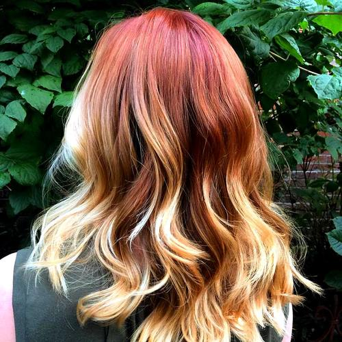 red hair with blonde ombre highlights