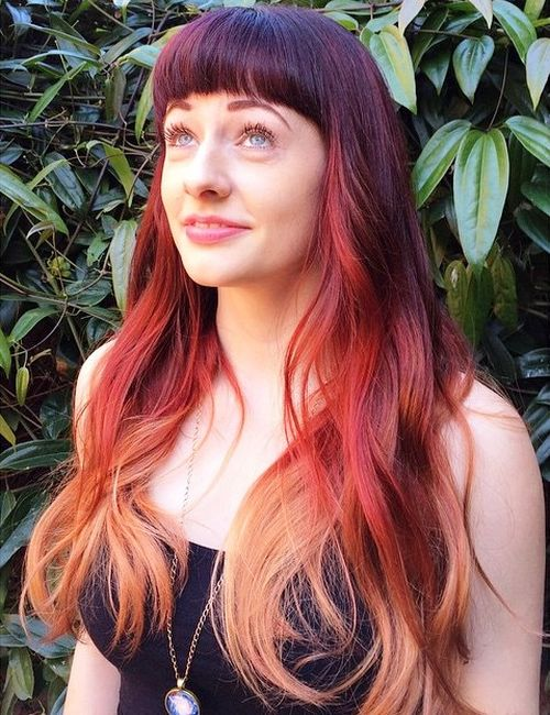 burgundy ombre hair with bangs