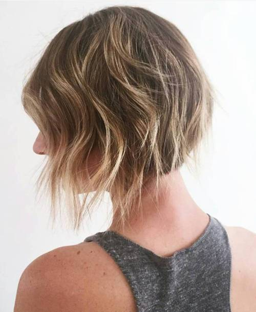 Layered Brown Bob With Blonde Highlights