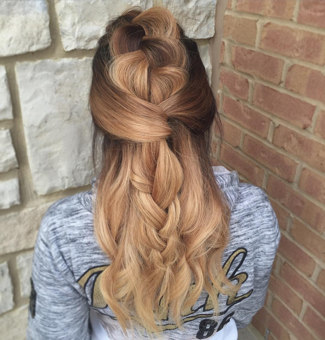 Long Half Updo With A Big Loose Braid