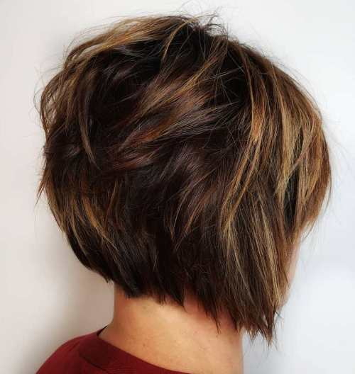 Short Shaggy Razored Brown Bob
