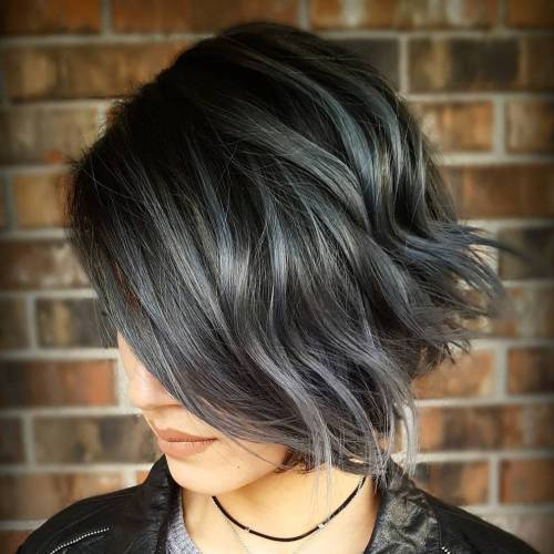 Black Bob With Silver Highlights