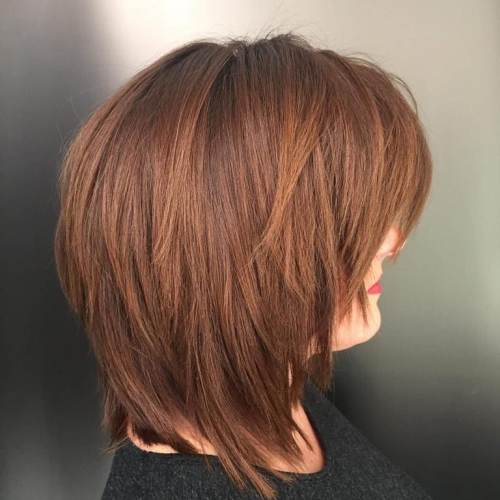 Chestnut Brown Choppy Shag Cut