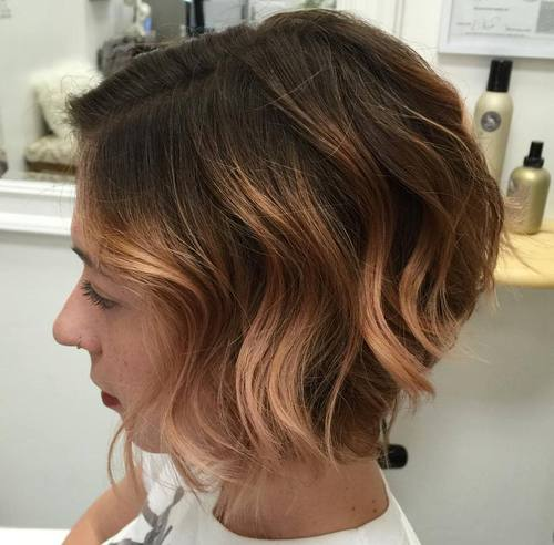 light copper balayage for short brown hair