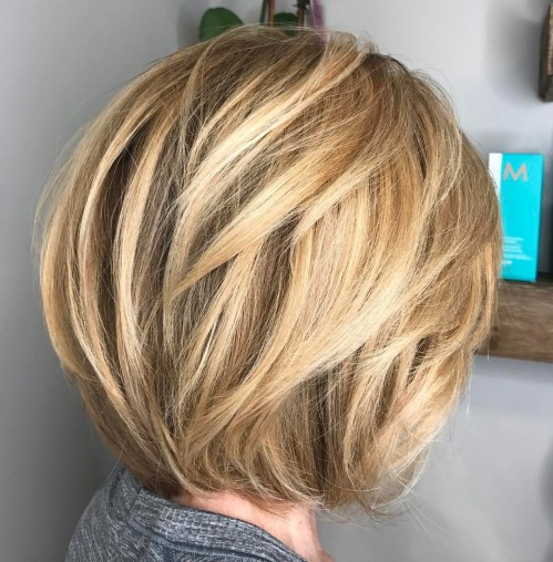 Bronde Bob With V-Cut Layers
