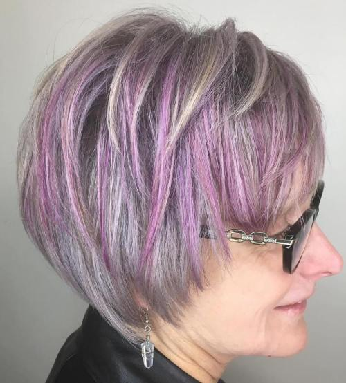 Gray Pixie Bob With Pastel Purple Highlights