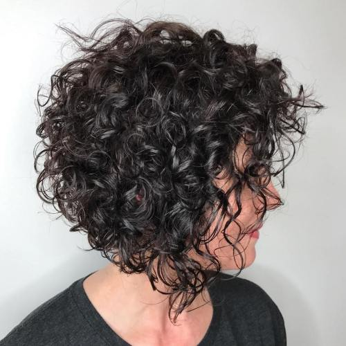 Short Razored Bob For Curly Hair