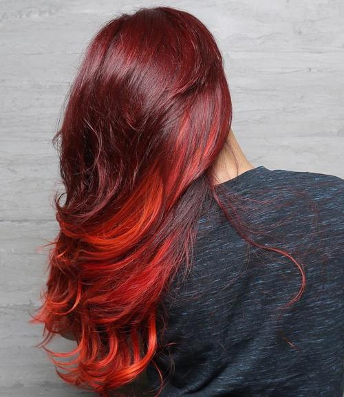 burgundy hair with red balayage