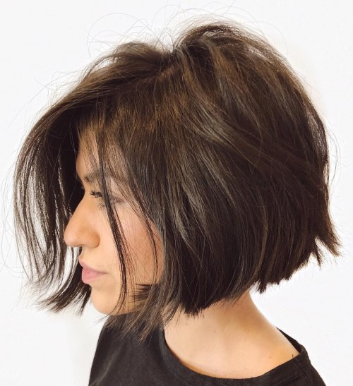 Jaw-Length Disconnected Brunette Bob