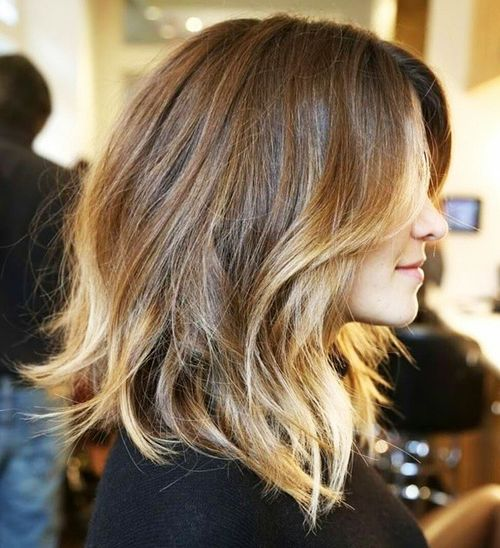 long brown bob with golden brown balayage