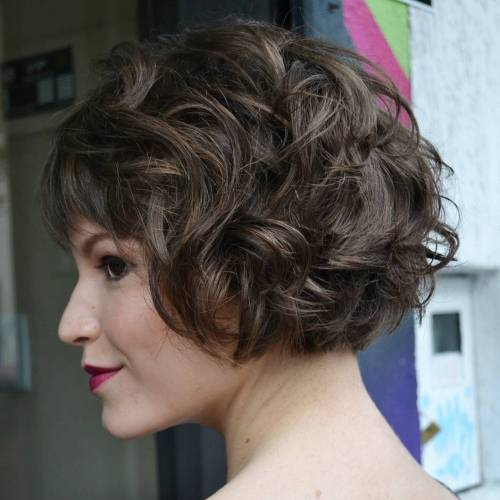 Short Curly Bob With Bangs