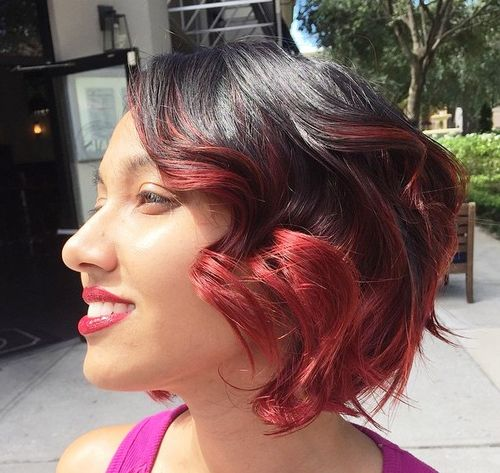 black wavy bob with marsala balayage