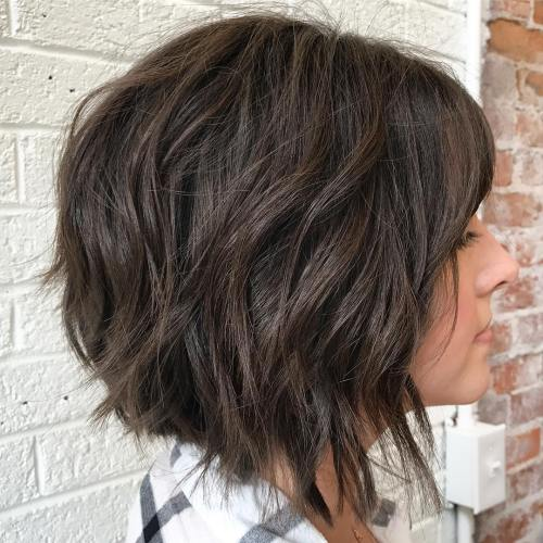 Brunette Textured Layered Bob
