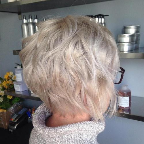 short ash blonde wavy bob