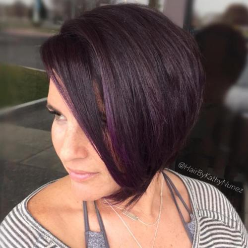 Side-Swept Purple Brown Bob