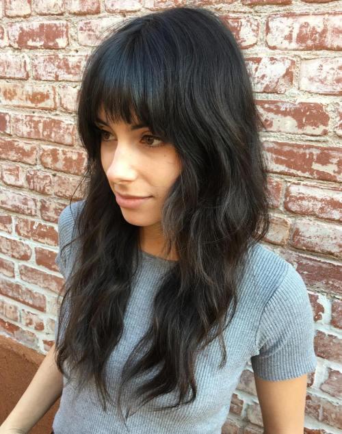 Long Layered Haircut With Straight Bangs