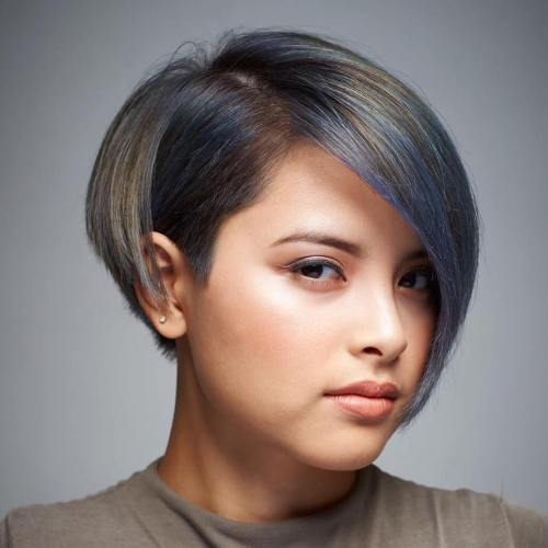 40 cute looks with short hairstyles for round faces short asymmetrical bob with bangs urmus Choice Image