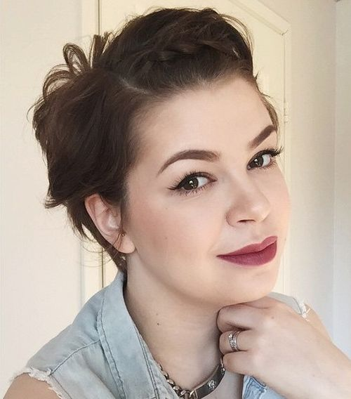 short hairstyle for round faces with braided bangs