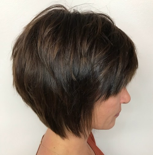 Tapered Brown Bob With Bangs