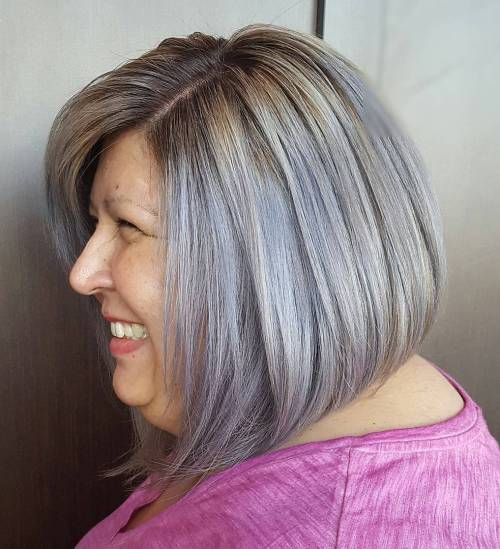 A-Line Metallic Silver Bob Over 50