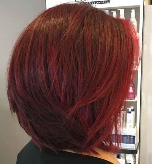 Red Layered Bob
