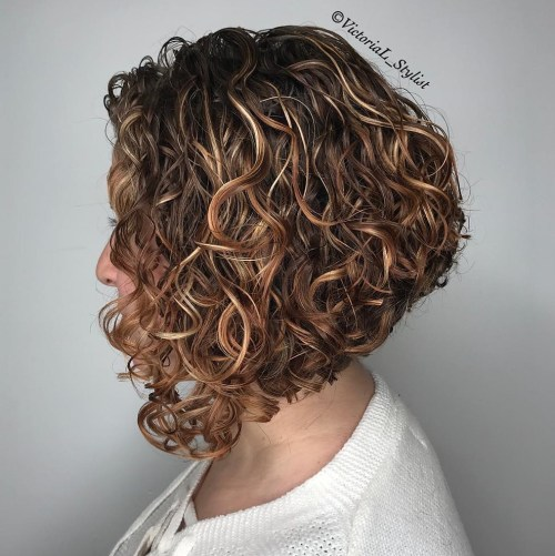 Inverted Curly Bob With Highlights