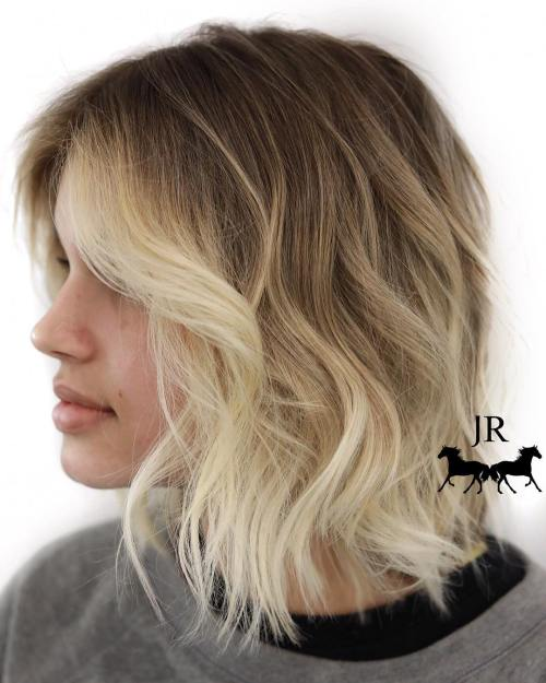 Blonde Balayage Bob With Dark Roots